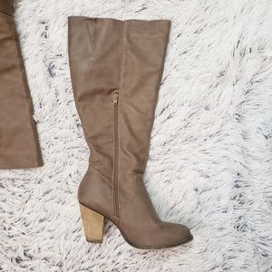 Cato Shoes - Cato Taupe Knee High Boots